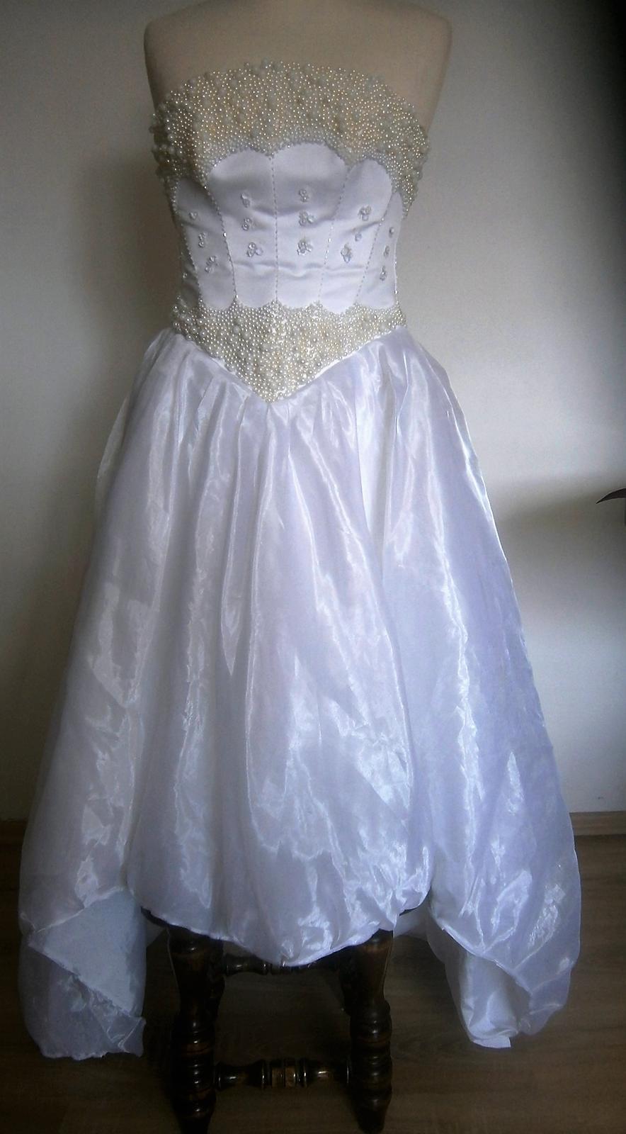 asymetrické šaty s perličkama vel. - Obrázek č. 2