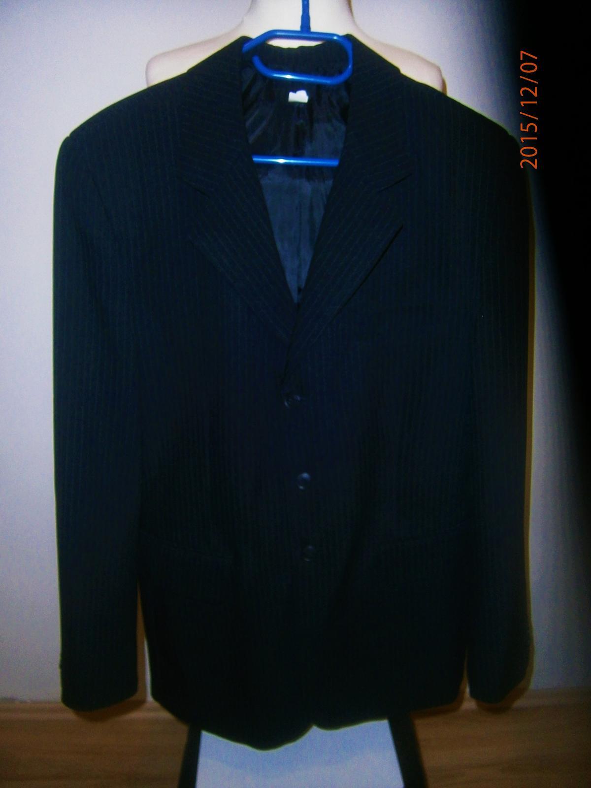 Oblek černý s proužkem vel.52 - Obrázek č. 2