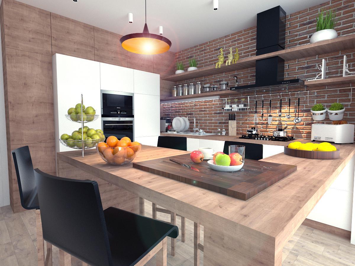 Tehla a drevo v kuchyni :) #vizualizacia #kuchyna #bricks #wood - Obrázok č. 1