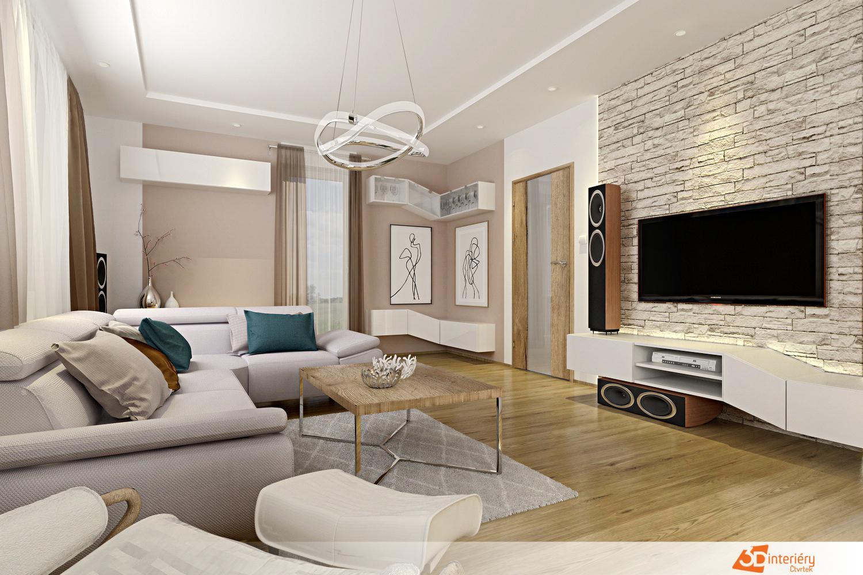 """Prosím o pomoc s barevným laděním obývacího pokoje.  Vizualizace ukazuje jen původní návrh. Ve skutečnosti máme vybranou podlahu v teplejší barvě dubu viz druhá fotografie a bílé lakované dveře. Dále se nám líbí vliesová tapeta (uvažovala jsem za TV) na třetím obrázku - v béžové barvě, která pěkně ladila s podlahou. Ostatní zařízení zatím vybíráme. Můj cíl je mít pokoj útulný, elegantní, spíše laděný do teplých barev, necítím se dobře ani mezi více bílými stěnami. Zároveň však chceme interiér moderní, žádné retro nebo příliš usedlý. Plánuji mít voálové záclony a závěsy. Bohužel barevné ladění je moje slabá stránka. Nevím, čím dodat interiéru šmrnc, moje snaha jít do sobě podobných barev často vede k tomu, že je interiér fádní, příliš unylý. Vidím tu spoustu krásně sladěných interiérů, takže věřím, že mi dobře poradíte. 🙂 Inspirace se mi hledá velmi těžko, protože dnes módní šedo-černo-bílý interiér kombinovaný se dřevem je pro mě obvykle příliš """"studený"""". A nyní dotaz: Jakou barvu SEDAČKY, STĚN a ZÁVĚSŮ byste doporučovali? - Obrázek č. 1"""