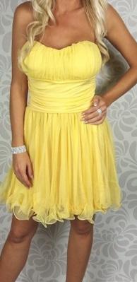 Krátke spoločenské šaty s ramienkami, žlté - Obrázok č. 1