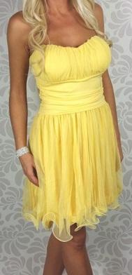 Krátke spoločenské šaty s ramienkami, žlté - Obrázok č. 2