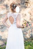 Svatební šaty - holá záda, krajka, 40
