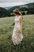 Boho svatební šaty s vlečkou vel.36-38, 38
