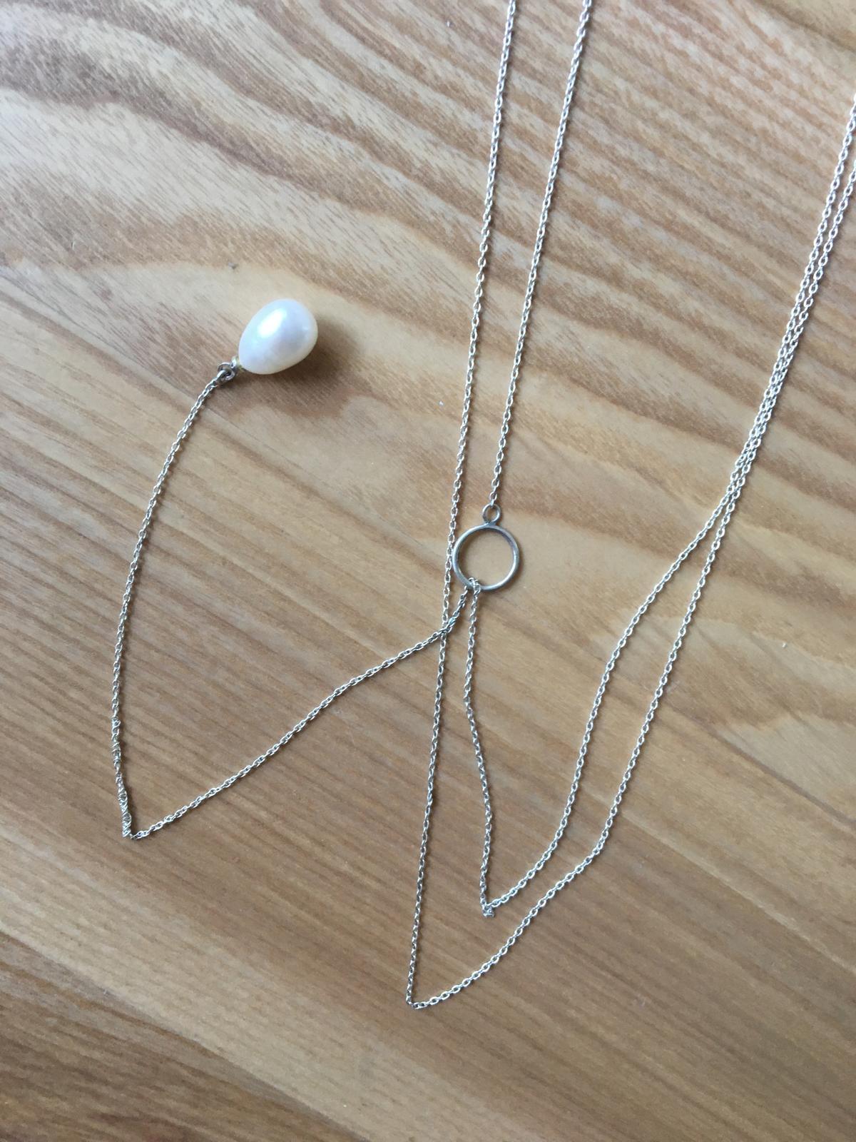 Stribrny body chain s pearl drop na zadech - Obrázek č. 1