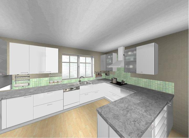 Ach ta kuchyne - obklad = sklenena mozaika v barve prirodniho skla + sedymi nepravidelnymi cakanci