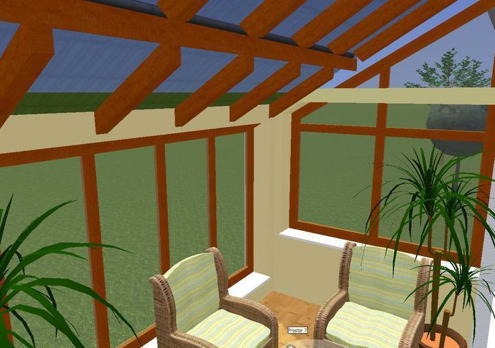 Prosim o radu, jaka strecha nad zimni zahradou - Jeste jsme se porad nerozhoupali, jaka bude strecha nad zimni zahradou. Zitra bych to mela uz rict pokryvacum :-( Tato varianta je se strechou, ktera je cela pokryta makrolonem.