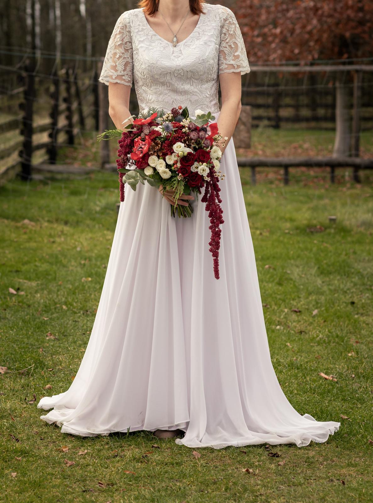 Svatební šaty v boho stylu, vel. 38 (M) - Obrázek č. 1