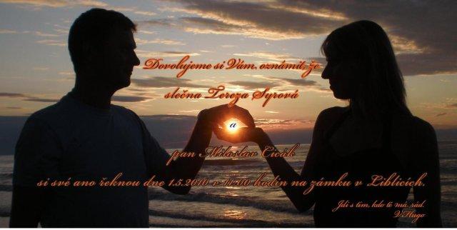 Tereza a Míla_porovnání: plány a skutečnost - Naše svatební oznámení