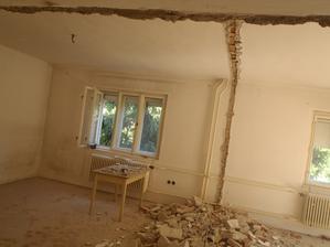 Priečka preč...kuchyňa + obývačka