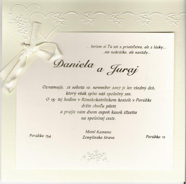 Daniela{{_AND_}}Juraj MIŇOVI - NAŠE svadobné oznámenie
