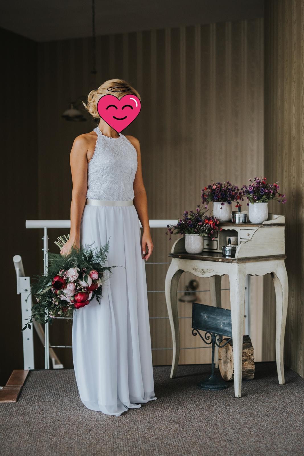 Muselinove svadobne saty s cipkovym topom - Obrázok č. 2