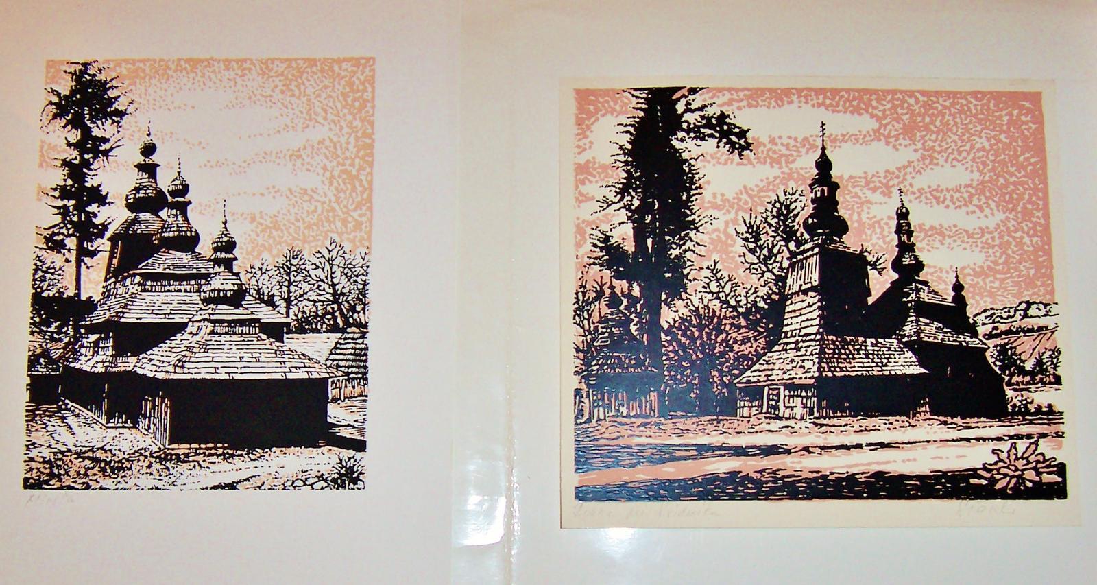 Originál grafiky,Drevené kostolíky,2ks - Obrázok č. 1
