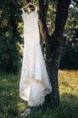 Krajkové šaty s vlečkou, 36