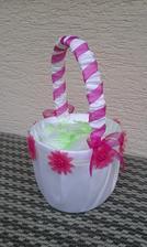 Košíček na lupienky - tiež kúpený biely a dozdobený