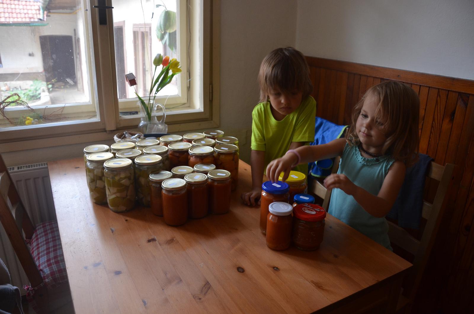 Vysněná zahrada... - naše první domácí...zavařené broskve, hrušky, broskvová marmeláda s mátou a rajčatová passata