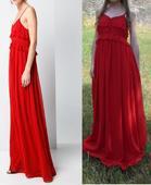 Dlhé červené šaty, S