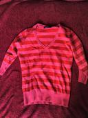 ruzovo-cerveny pasavy pulover, 36