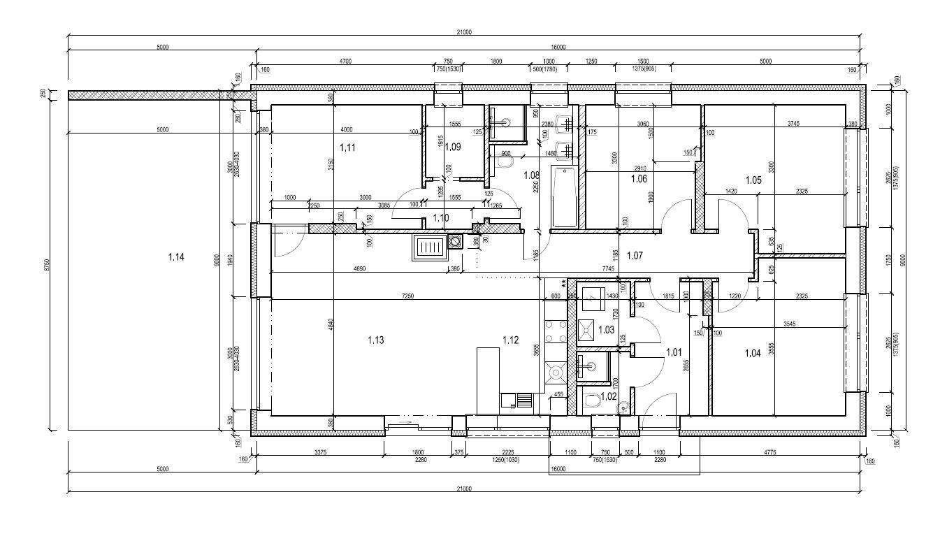 Bungalov 1871 - Zmeny: Zrusenie zavetria terasy a posunutie portalovych dveri na uroven druhych ( vznikol priestor pre dalsiu izbu - v nasom pripade pracovnu) Zrusenie rohoveho okna (mam rad symetriu)zrusenie spajzy, zvacsenie otvoru vch. dveri -priestor na svetlik
