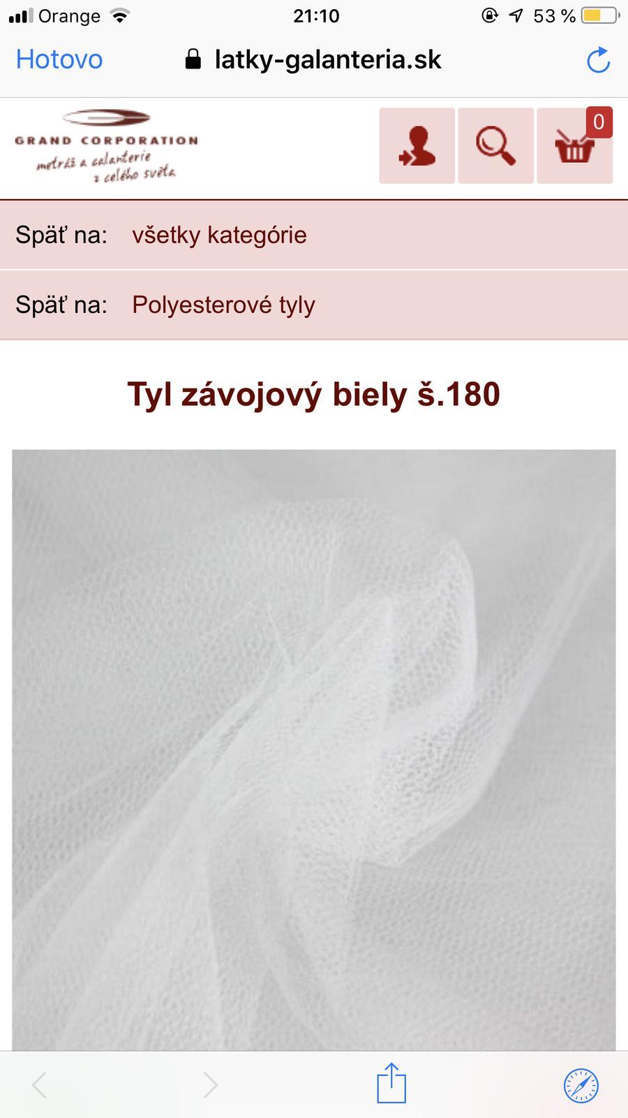 Biely tyl,nepoužitý (šírka 180cm, dĺžka 7 metrov)  - Obrázok č. 3