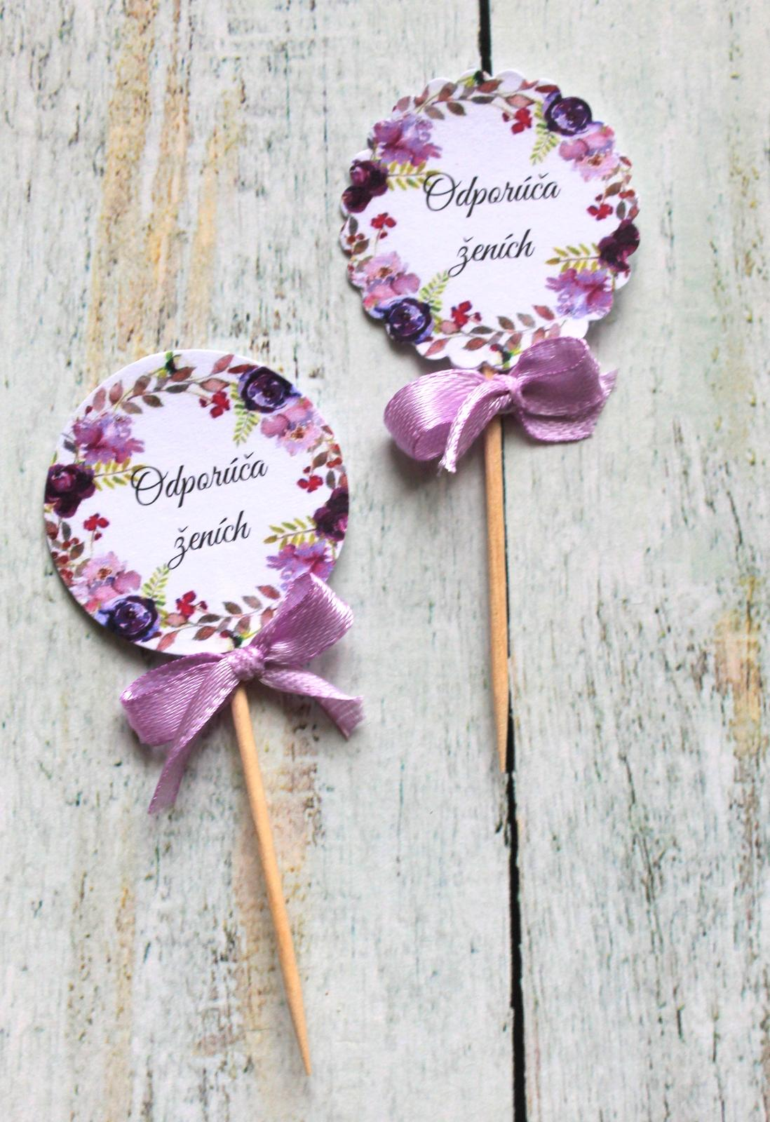 Zápichy do svadobných koláčov - fialové kvety - Obrázok č. 4