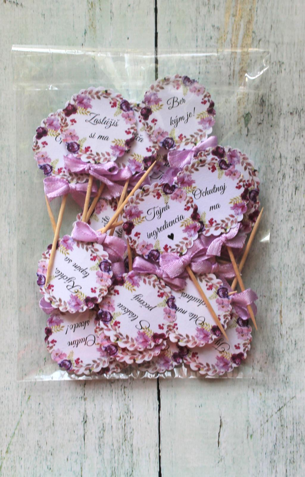 Zápichy do svadobných koláčov - fialové kvety - Obrázok č. 3