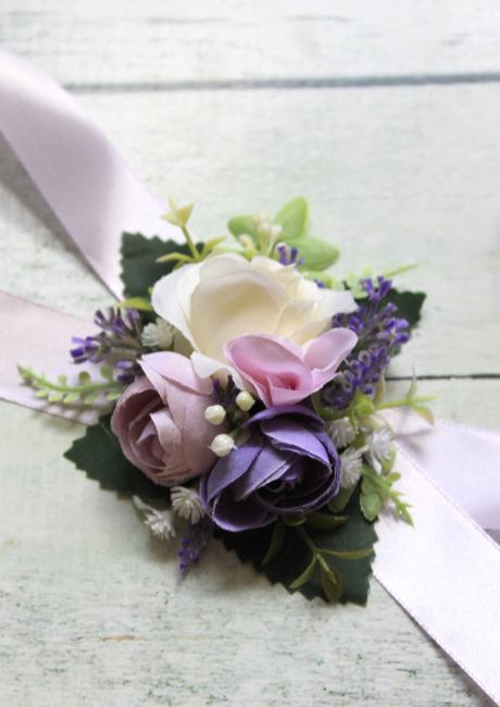 Kvetinové náramky pre družičky so stuhou - Obrázok č. 1
