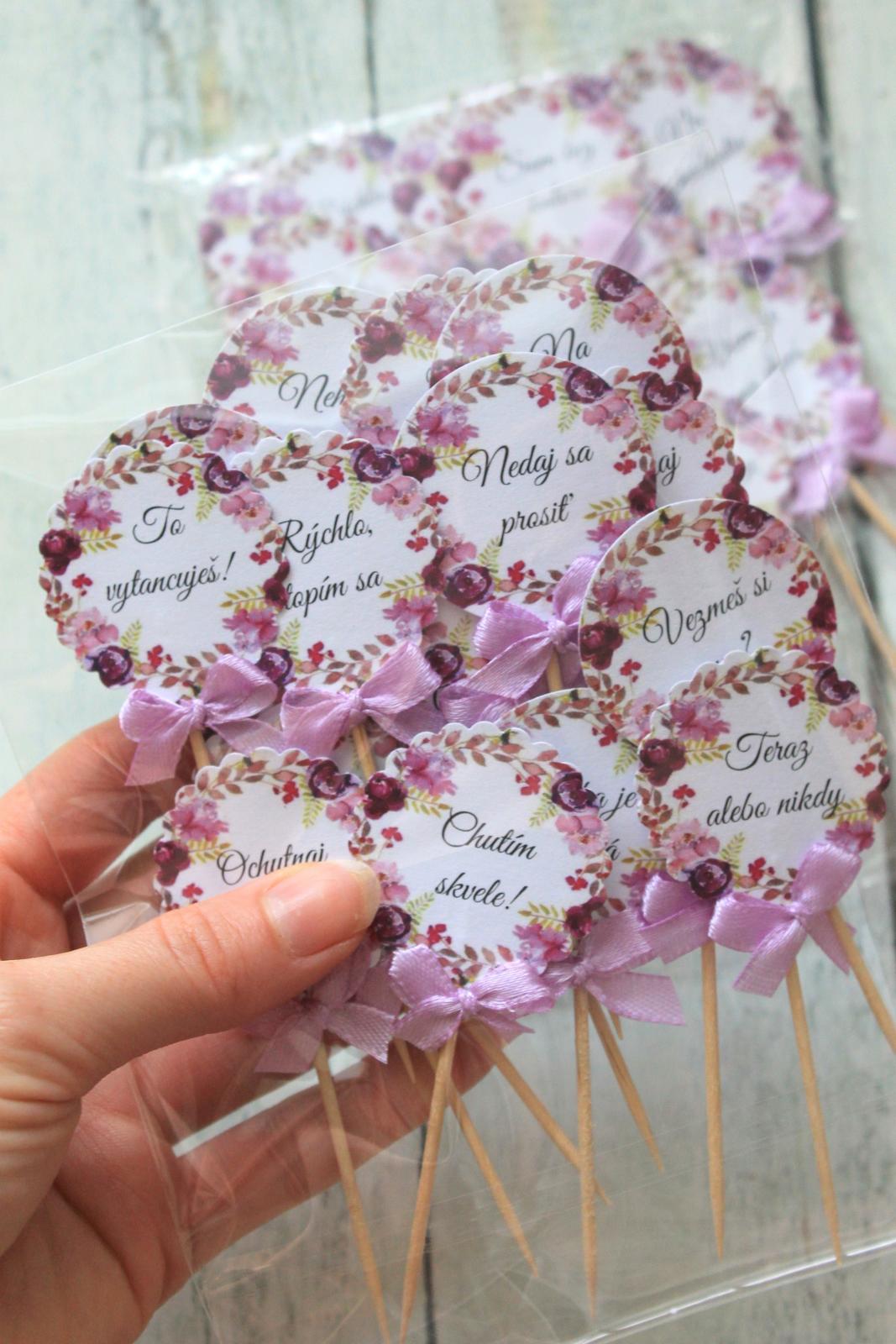 Zápichy do svadobných koláčov - fialové kvety - Obrázok č. 2