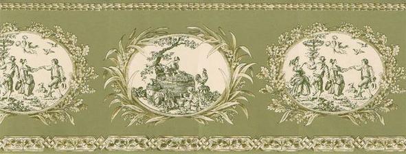 Tahle tapetova bordura prijde do loznice na rozhrani olivove a smetanove vymalby...