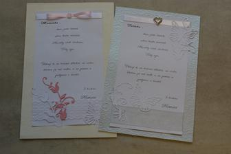 poděkování rodičům ženicha (žijí odděleně, takže každému zvlášť)