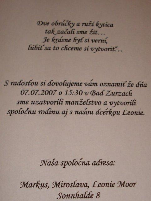 Miroslava Jirsova{{_AND_}}Markus Moor - nasa basnicka na svadobnom oznameni...