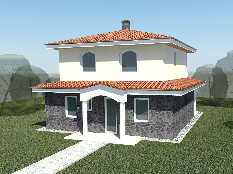 Sen, ktorý sa volá náš domček - Vizualizácia. Ale určite nebude taký tmavý oblklada a oblúkové okná.