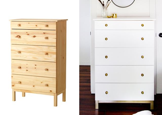 Ikea v akci - tarva http://www.ikea.com/cz/cs/catalog/products/50221419/  (natřeno na bílo, zlaté úchytky a nohy)
