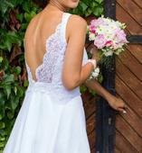 Originálne čipkované svadobné šaty, 38