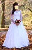 Čipkované svadobné šaty + závoj, 38