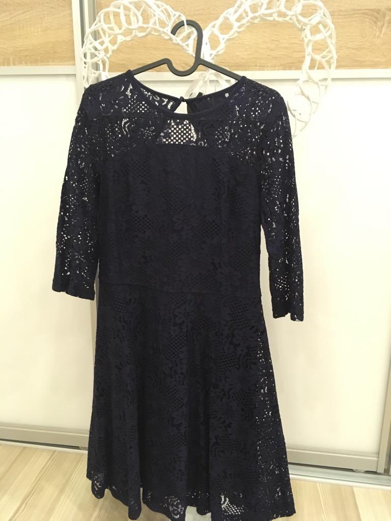 Tmavomodré čipkové šaty  - Obrázok č. 2