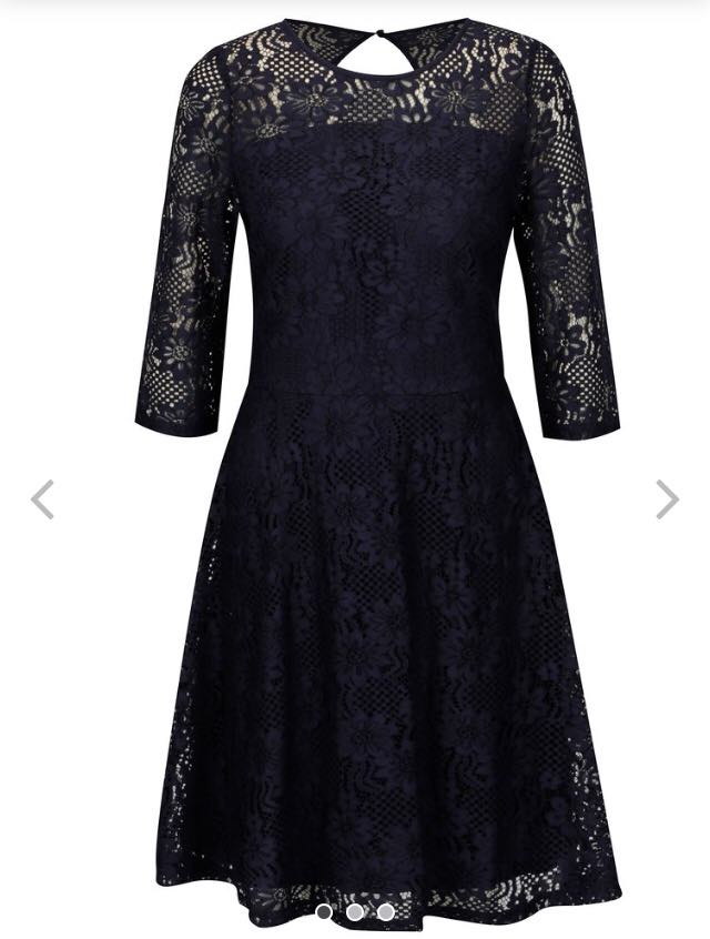 Tmavomodré čipkové šaty  - Obrázok č. 1