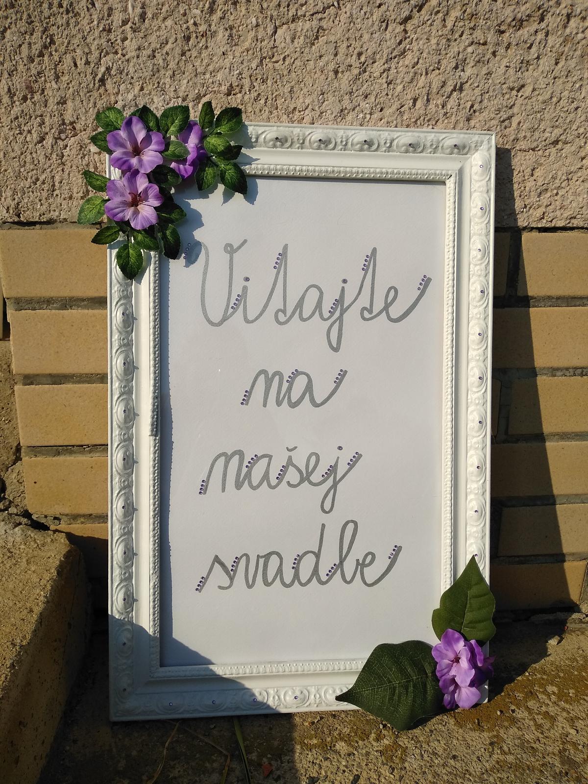 Tabuľa Vitajte na našej svadbe  - Obrázok č. 1