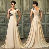 Béžové spoločenské šaty - veľ. 54, 54