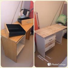 """Pracovný stôl...biela akrylovka a """"drevená"""" dekoračná fólia.."""