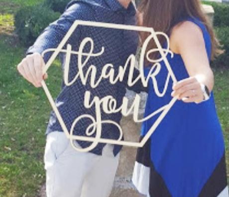 Dřevěný nápis Thank you - Obrázek č. 1