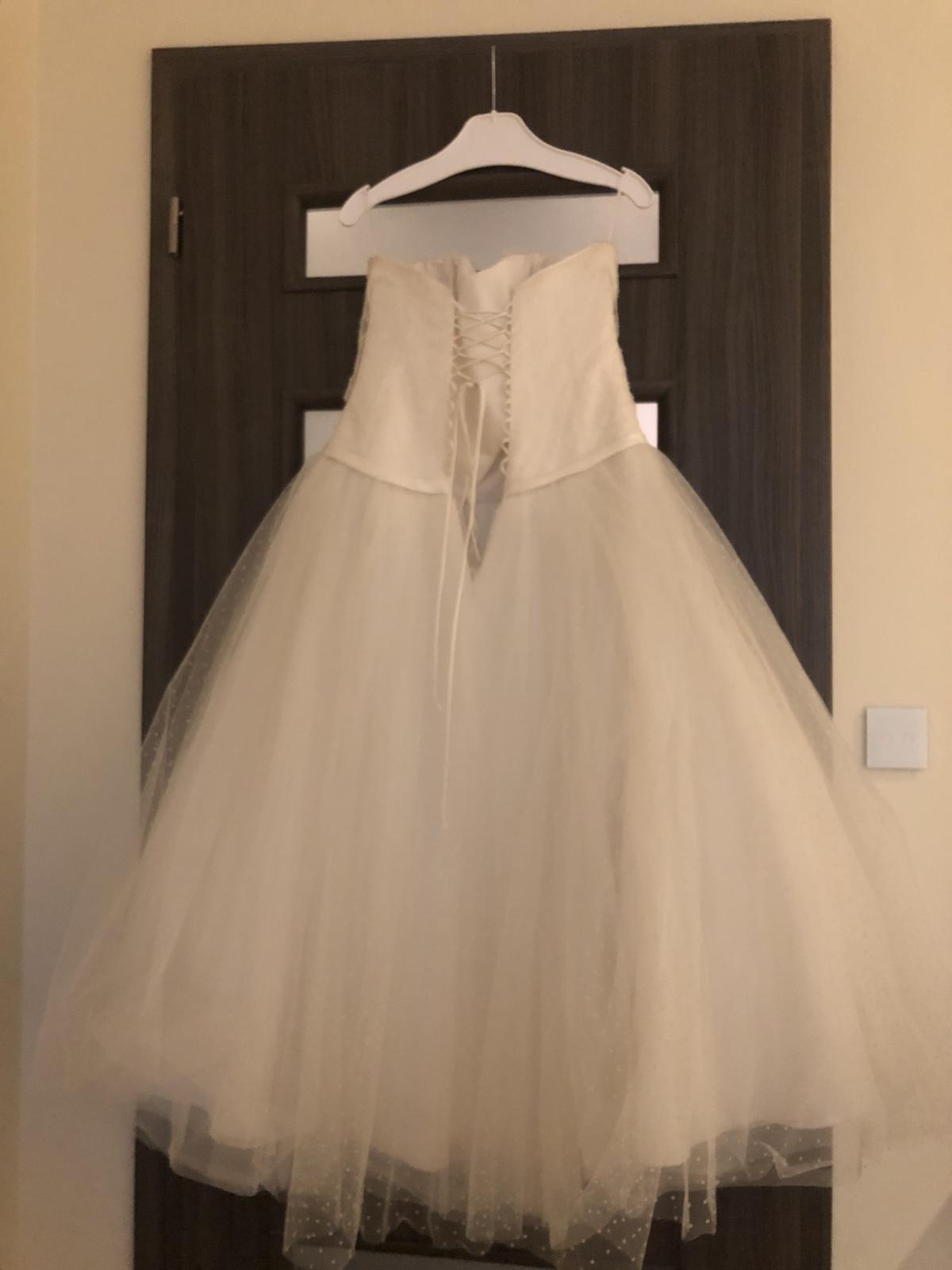 Svadobné šaty ivory s bodkami, po clenky, 36-40 - Obrázok č. 2