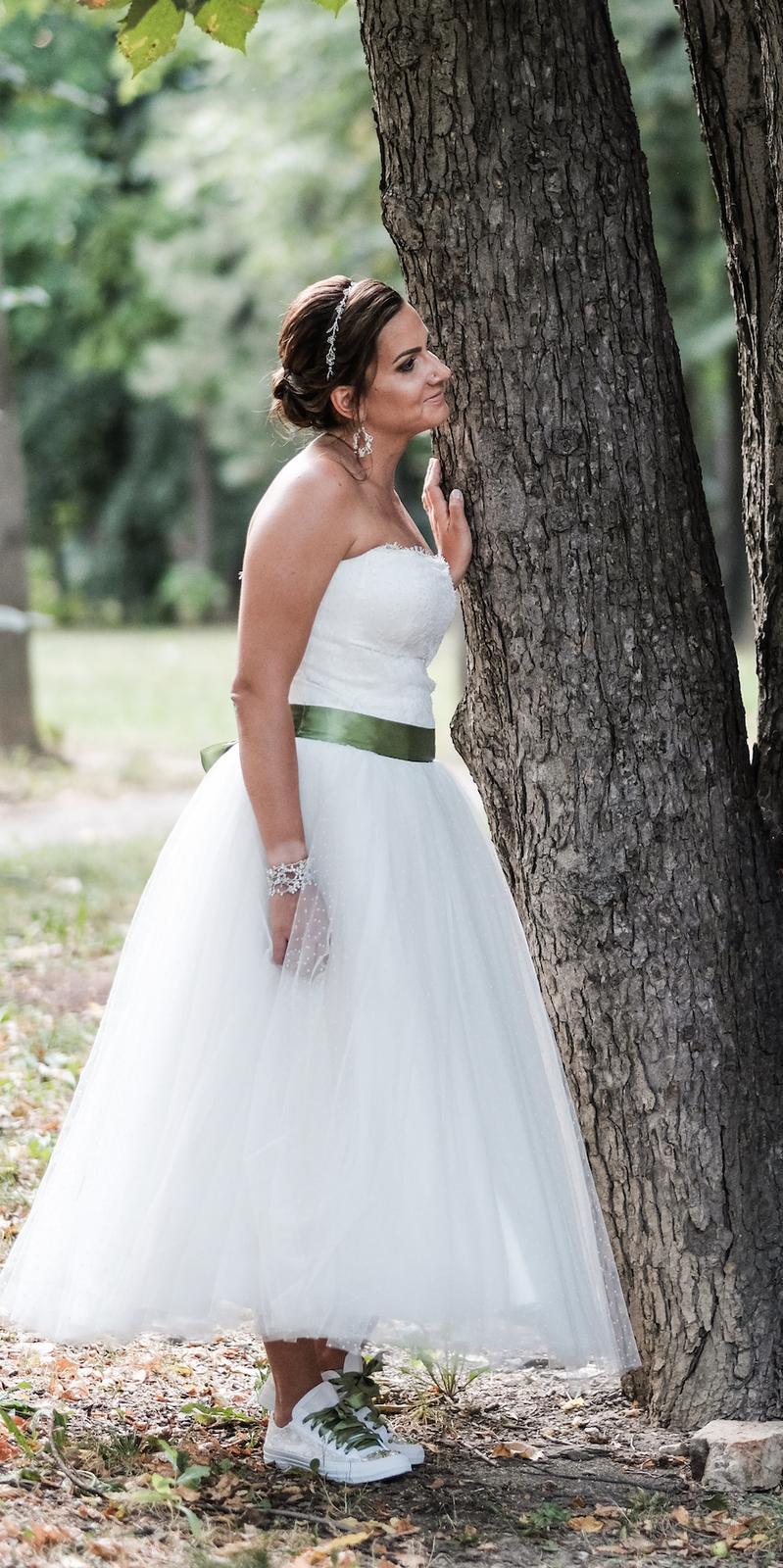Svadobné šaty ivory s bodkami, po clenky, 36-40 - Obrázok č. 3