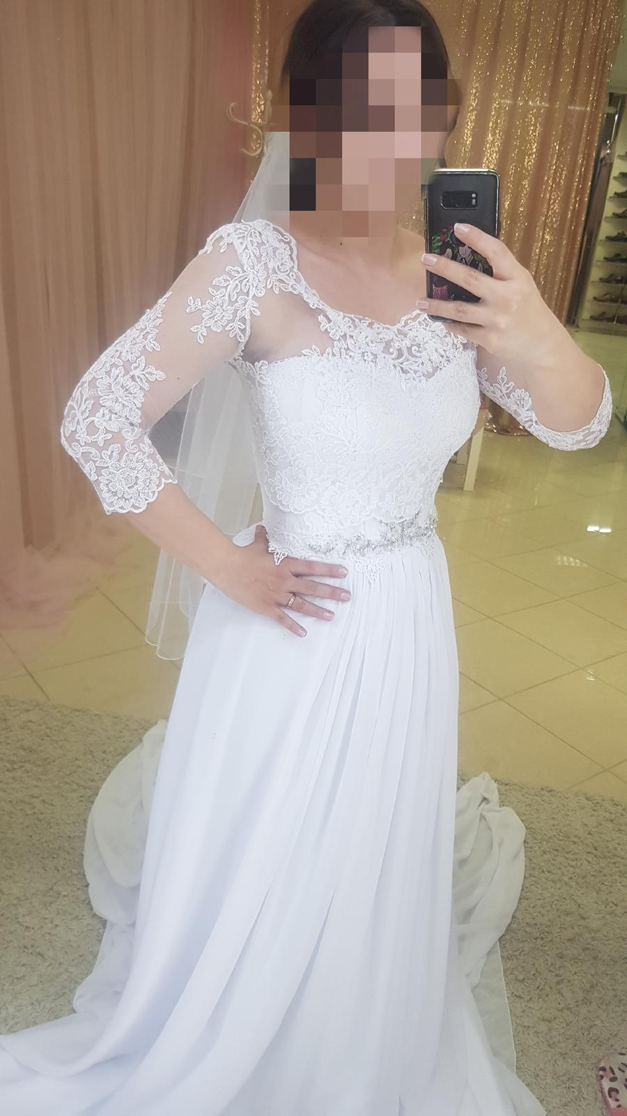 Jemné svadobné šaty- nové nenosené - Obrázok č. 1