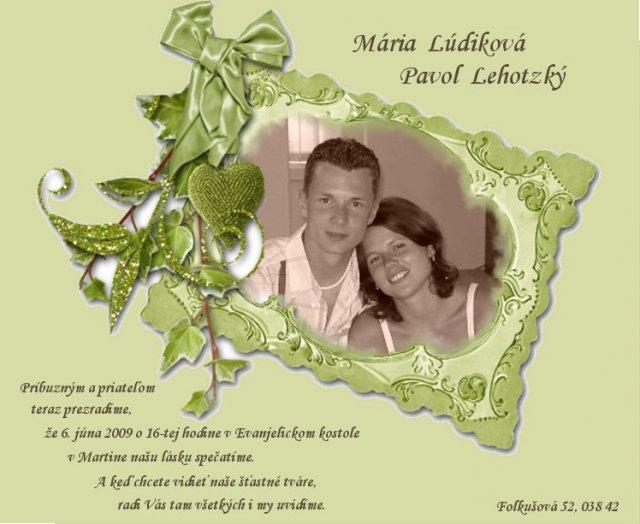 M+P 6.6.2009 - naše svadobne oznámenie