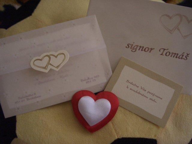 Mia a Pablo - ...aj s pozvaním k svadobnému stolu a obálkou...