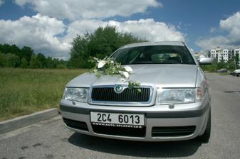 Naprosto jediná fotka kytky na autě :-)) a to byla opravdu krásná a přes půl kapoty :-)