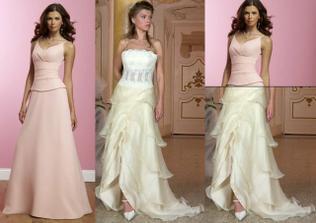 Vršek jako mají ty růžové šaty a takováto volánová sukně, vše v barvě šampaň.