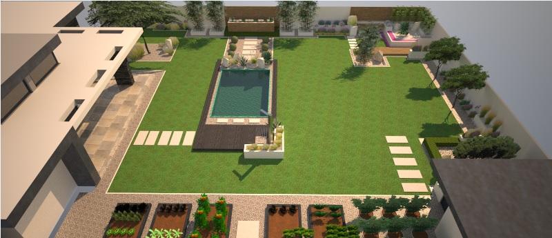 Modern Garden Linear324 - naša prímorská - pohlad z hora na celkovu zahradu