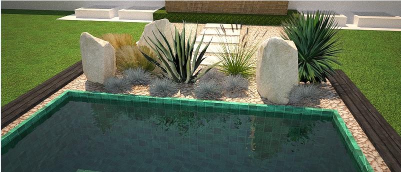 Modern Garden Linear324 - naša prímorská - detail na vysadbu pred bazenom